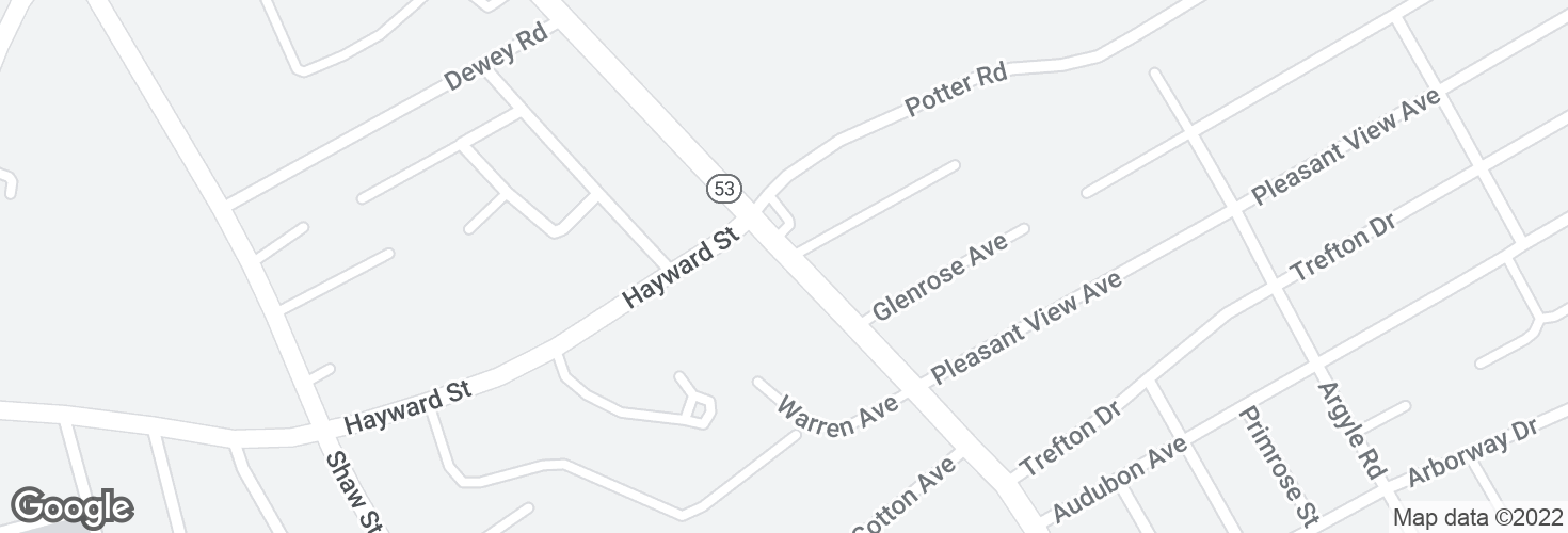 Map of Quincy Ave @ Hayward St and surrounding area