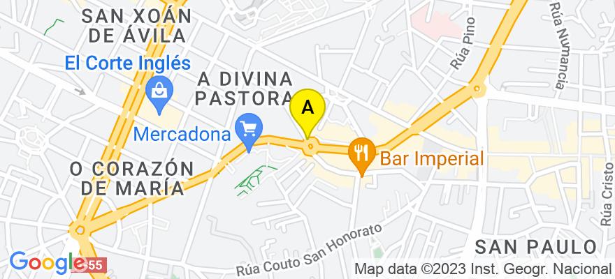 situacion en el mapa de . Direccion: Doctor Cadaval 2, ático 5 H, 36202 Vigo. Pontevedra