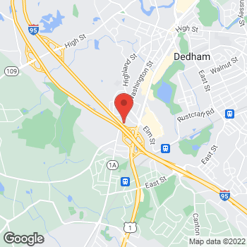 Map of James Lin, MD at 910 Washington Street, Dedham, MA 02026