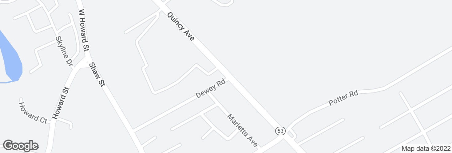 Map of Quincy Ave @ Dewey Rd and surrounding area