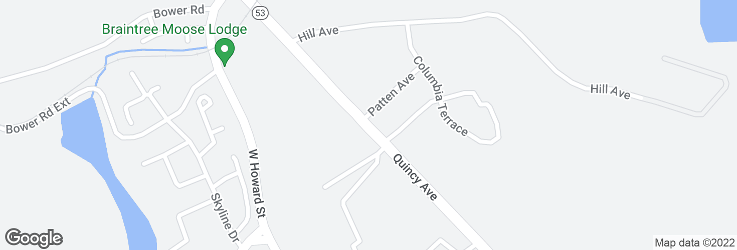 Map of Quincy Ave @ Patten Ave and surrounding area