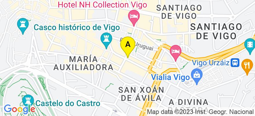 situacion en el mapa de . Direccion: urzáiz, 11-2º, 36201 Vigo. Pontevedra
