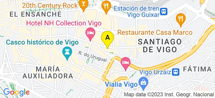 situacion en el mapa de . Direccion: Avda. García Barbón, nº 22, 1, 36201 Vigo. Pontevedra