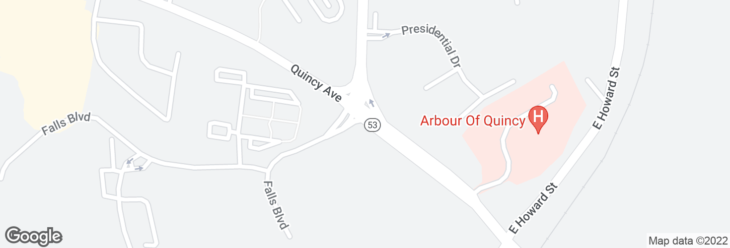 Map of Quincy Ave @ Southern Artery and surrounding area
