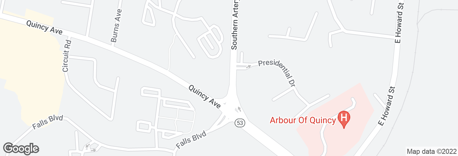Map of Southern Artery opp Presidential Dr and surrounding area