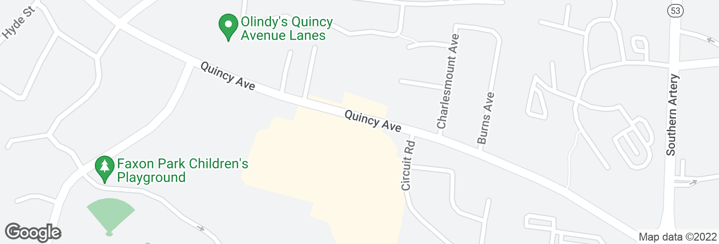 Map of Quincy Ave @ President Plaza and surrounding area