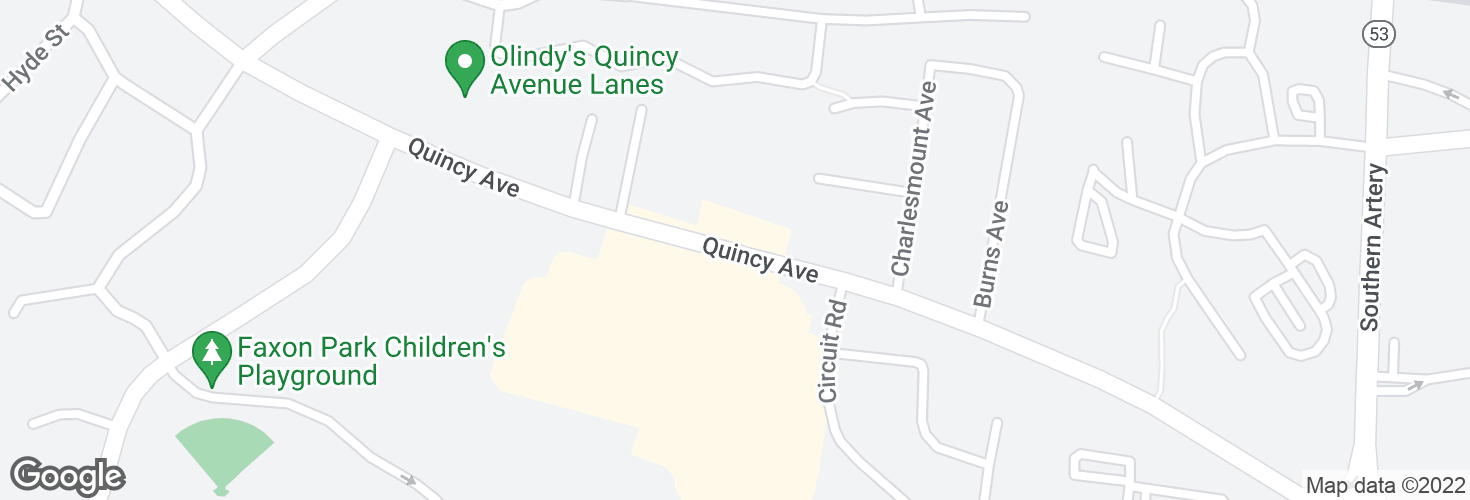 Map of Quincy Ave opp President Plaza and surrounding area