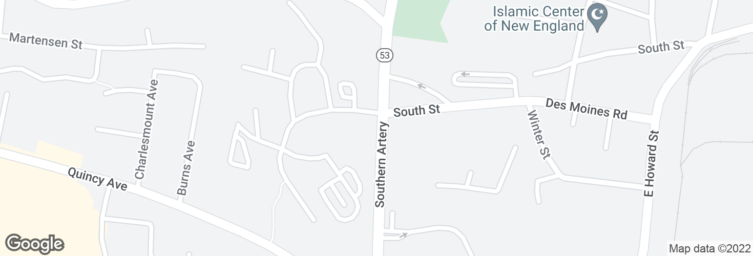 Map of Southern Artery @ South St and surrounding area