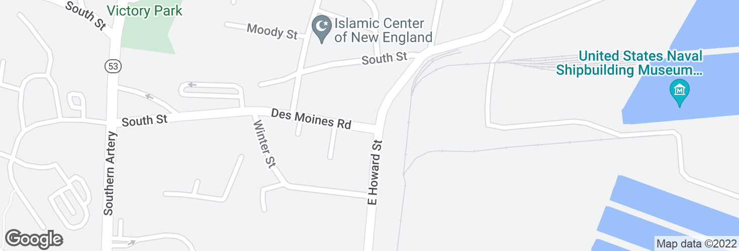 Map of Des Moines Rd @ E Howard St and surrounding area