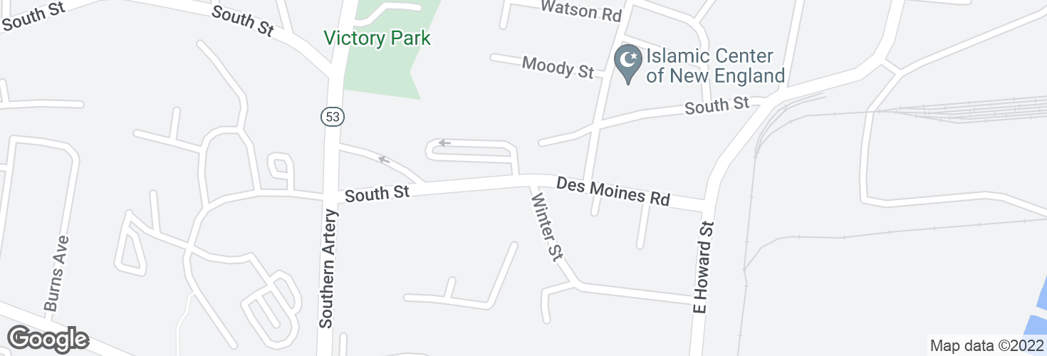 Map of Des Moines Rd opp Winter St and surrounding area