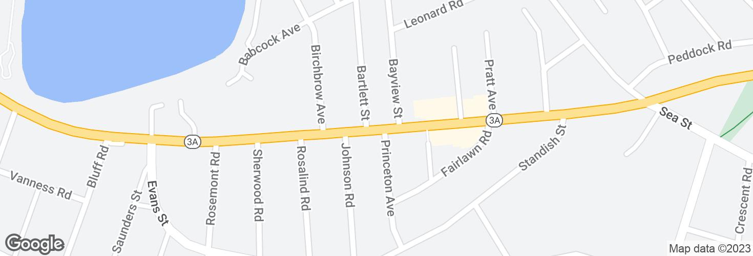 Map of Bridge St @ Bartlett St and surrounding area