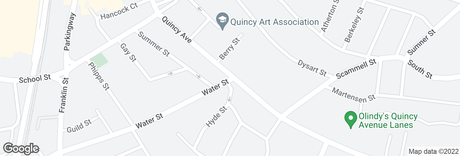 Map of Quincy Ave @ Water St and surrounding area