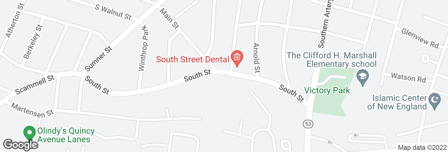 Map of South St opp Main St and surrounding area