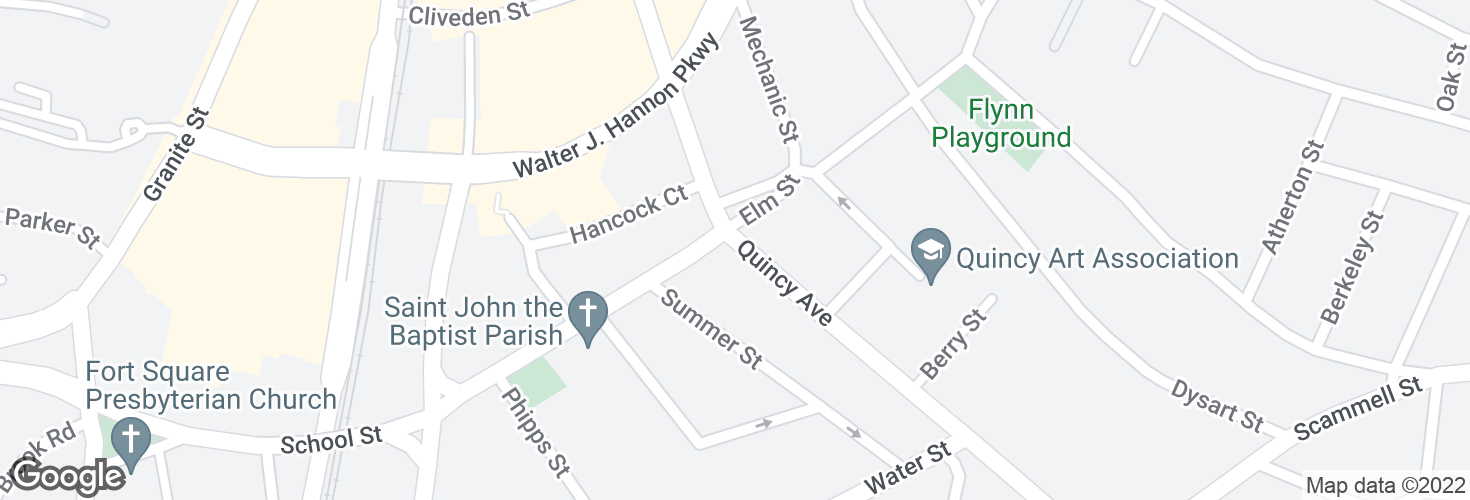 Map of Quincy Ave @ School St and surrounding area