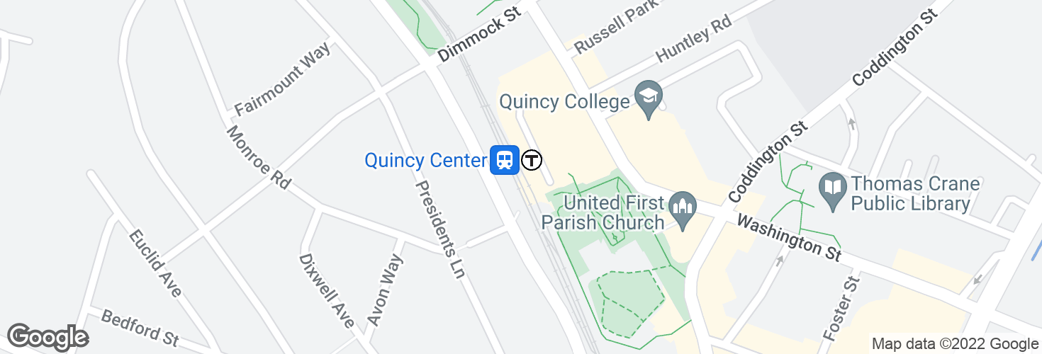 Map of Quincy Center and surrounding area