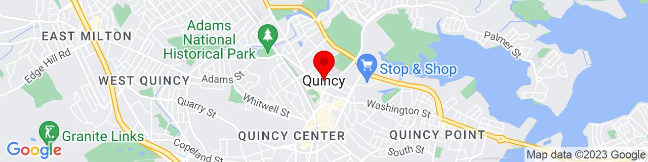 Google Map of 42.25277777777778, -71.00222222222222