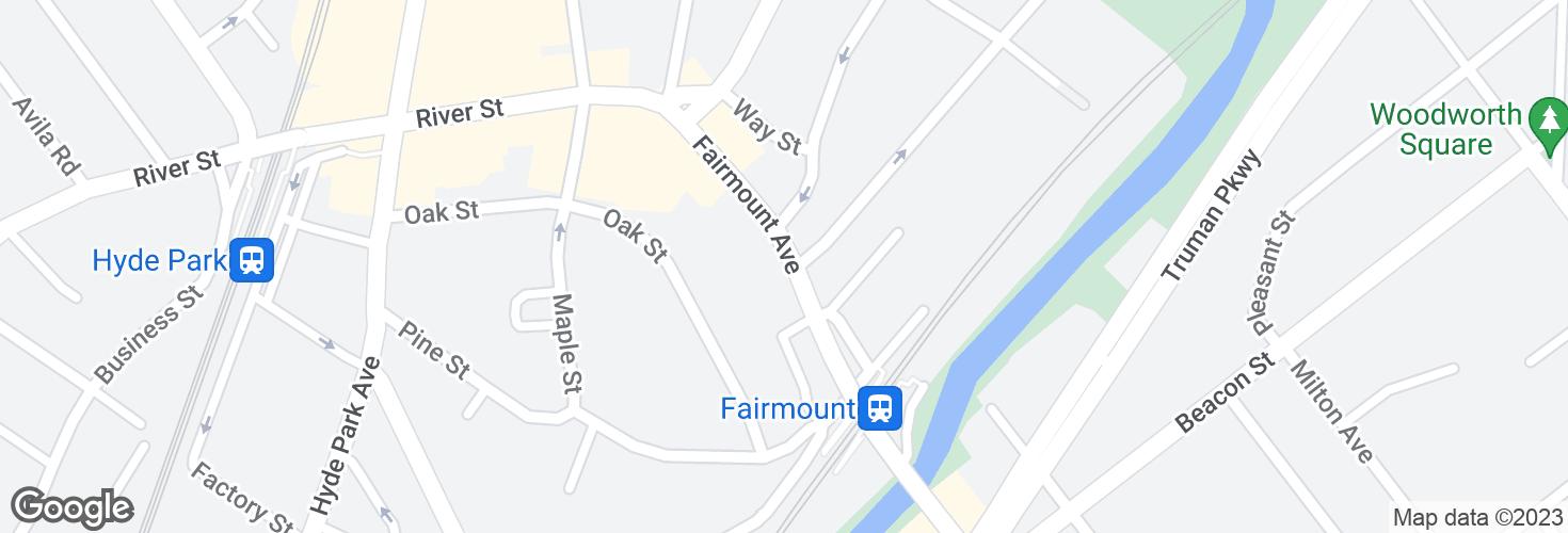 Map of Fairmount Ave opp Pierce St and surrounding area
