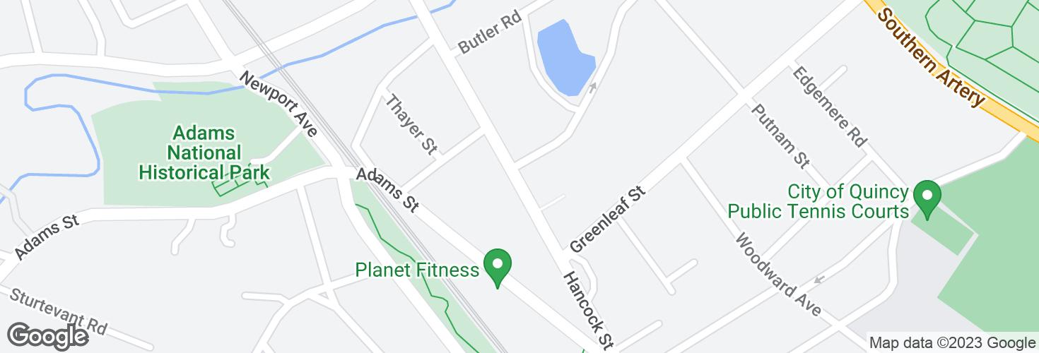Map of Hancock St @ Merrymount Rd and surrounding area