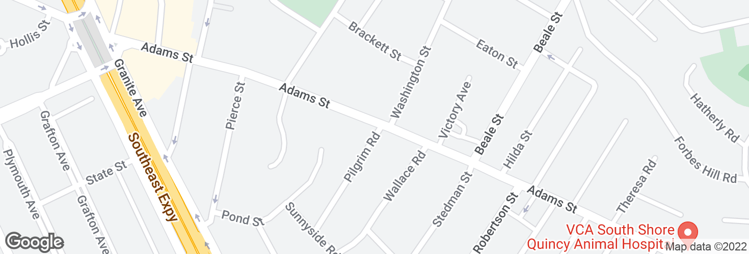Map of Adams St @ Pilgrim Rd and surrounding area