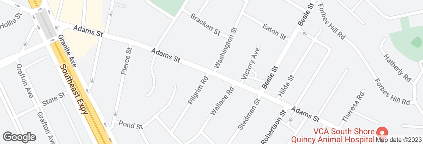 Map of Adams St @ Washington St and surrounding area