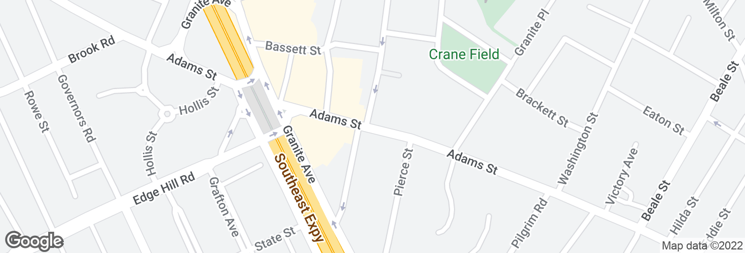 Map of Adams St @ Church St and surrounding area
