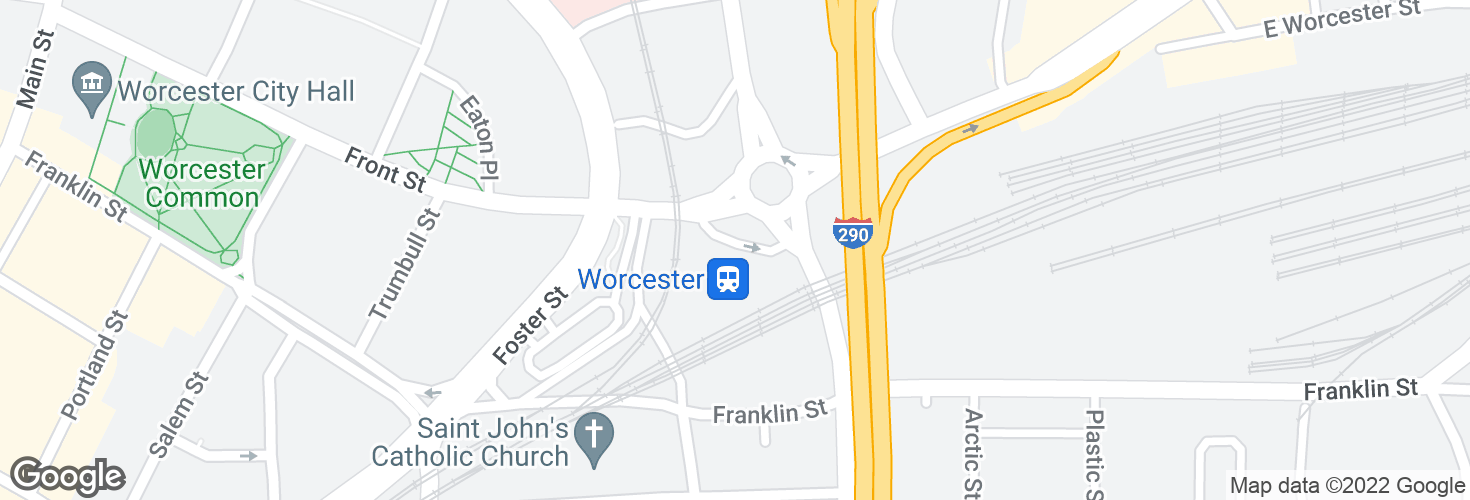 Map of Worcester and surrounding area