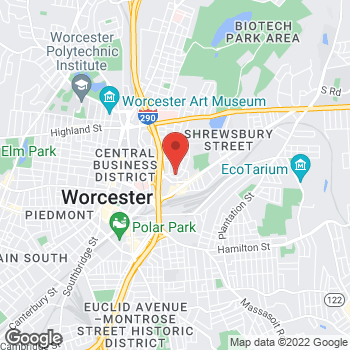 Map of Lauren Handelman, MD at 21 Eastern Ave, Worcester, MA 01605