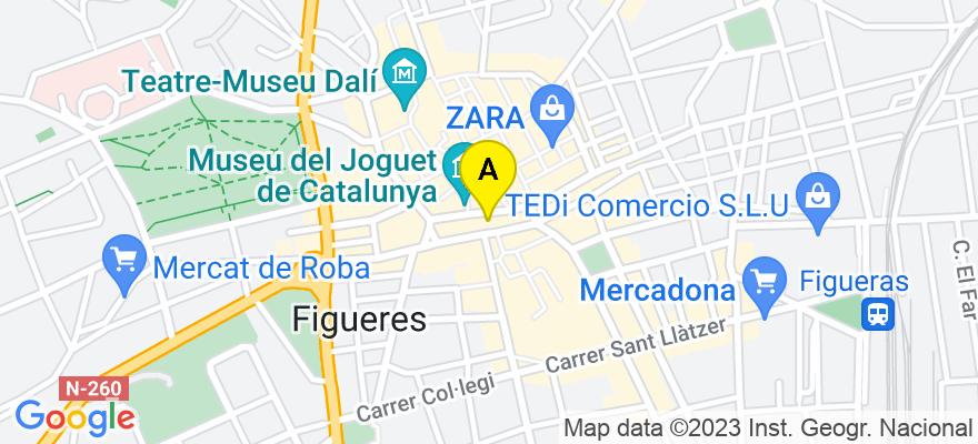 situacion en el mapa de . Direccion: C/ Sant Pau nº 27 escalera 2 entresuelo A, 17600 Figueres. Girona
