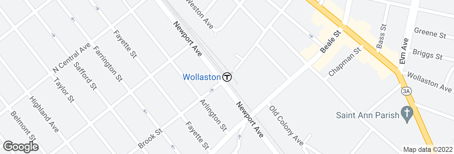 Map of Wollaston and surrounding area