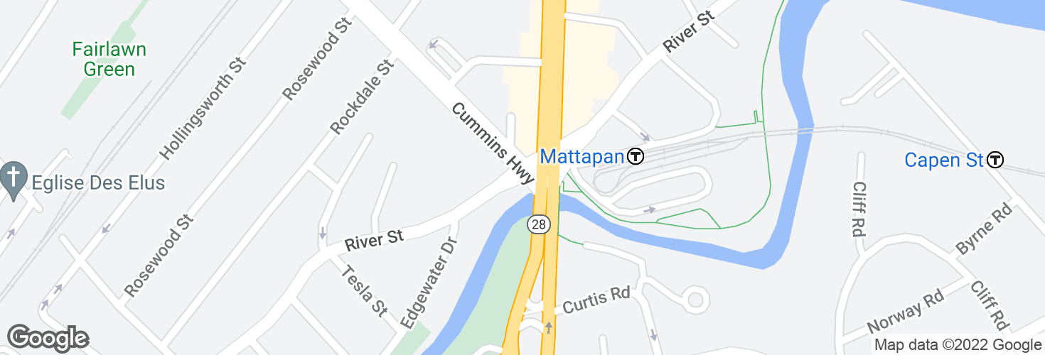 Map of River St @ Blue Hill Ave and surrounding area