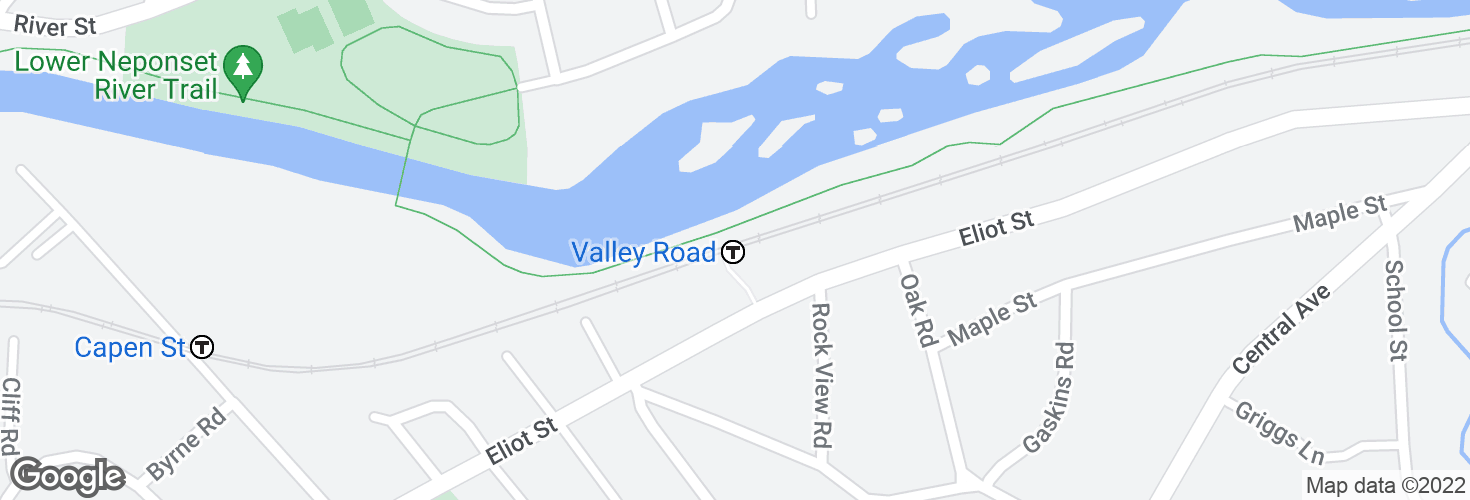 Map of Valley Road and surrounding area