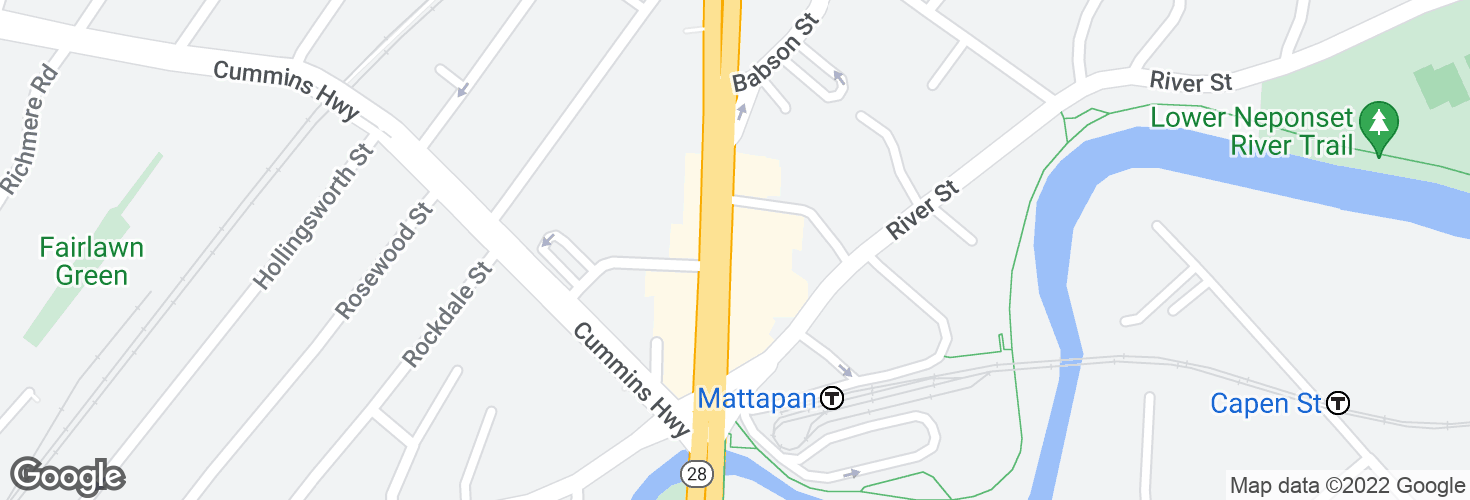 Map of 1624 Blue Hill Ave @ Mattapan Sq and surrounding area