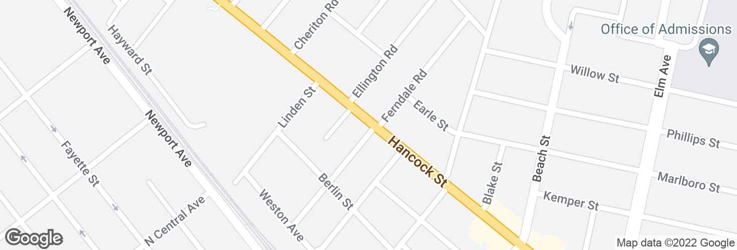 Map of Hancock St @ Chester St and surrounding area