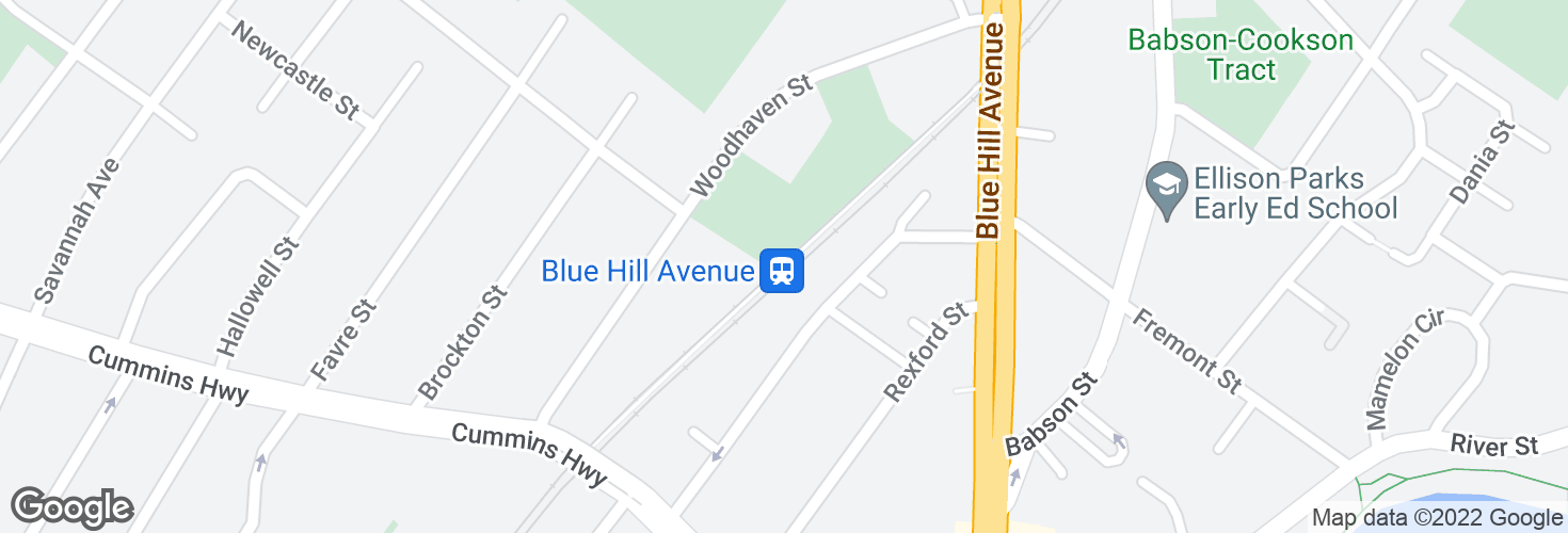 Map of Blue Hill Avenue and surrounding area