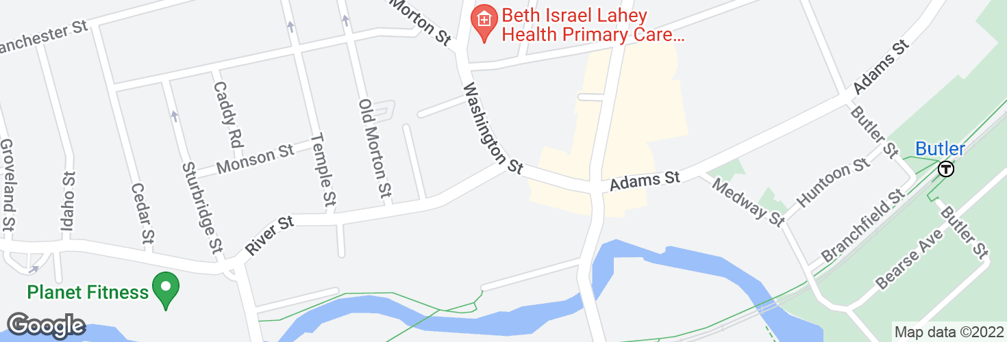 Map of River St @ Washington St and surrounding area