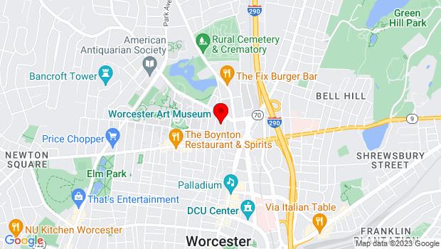 Google Map of 55 Salisbury Street, Worcester, MA 01609