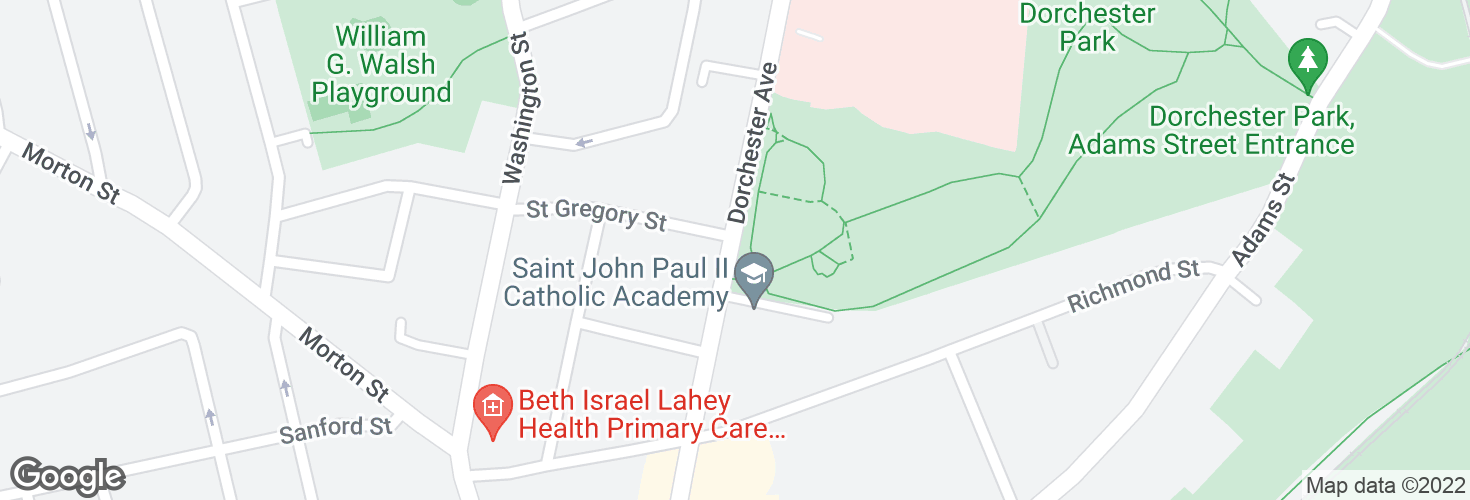 Map of Dorchester Ave opp St Gregory St and surrounding area