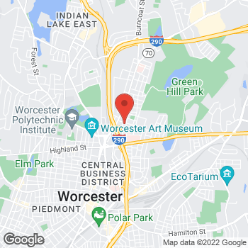 Map of Ian Harding, MD at 45 Oak Ave, Worcester, MA 01605
