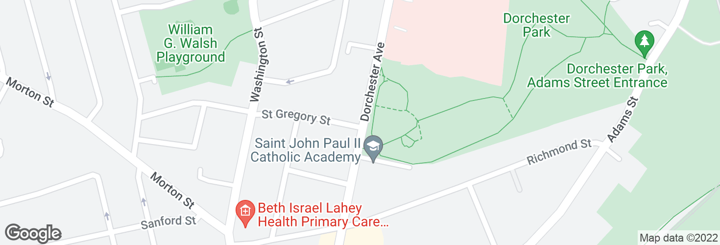 Map of Dorchester Ave @ St Gregory St and surrounding area