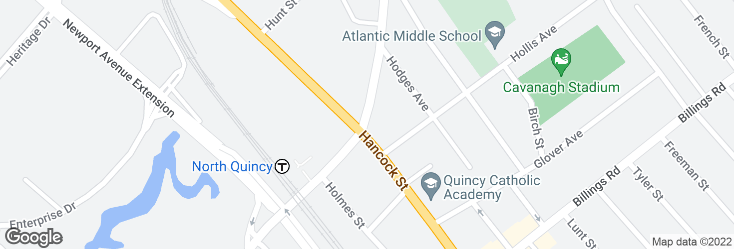 Map of E Squantum St @ Hancock St and surrounding area