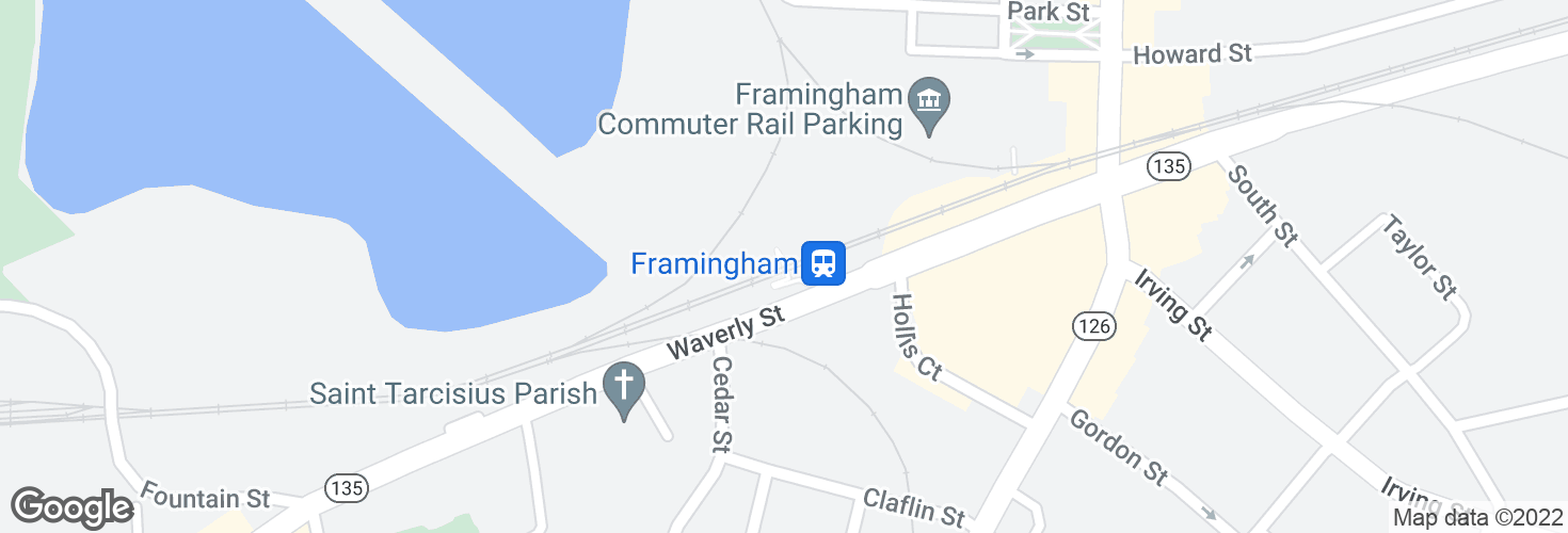 Map of Framingham and surrounding area