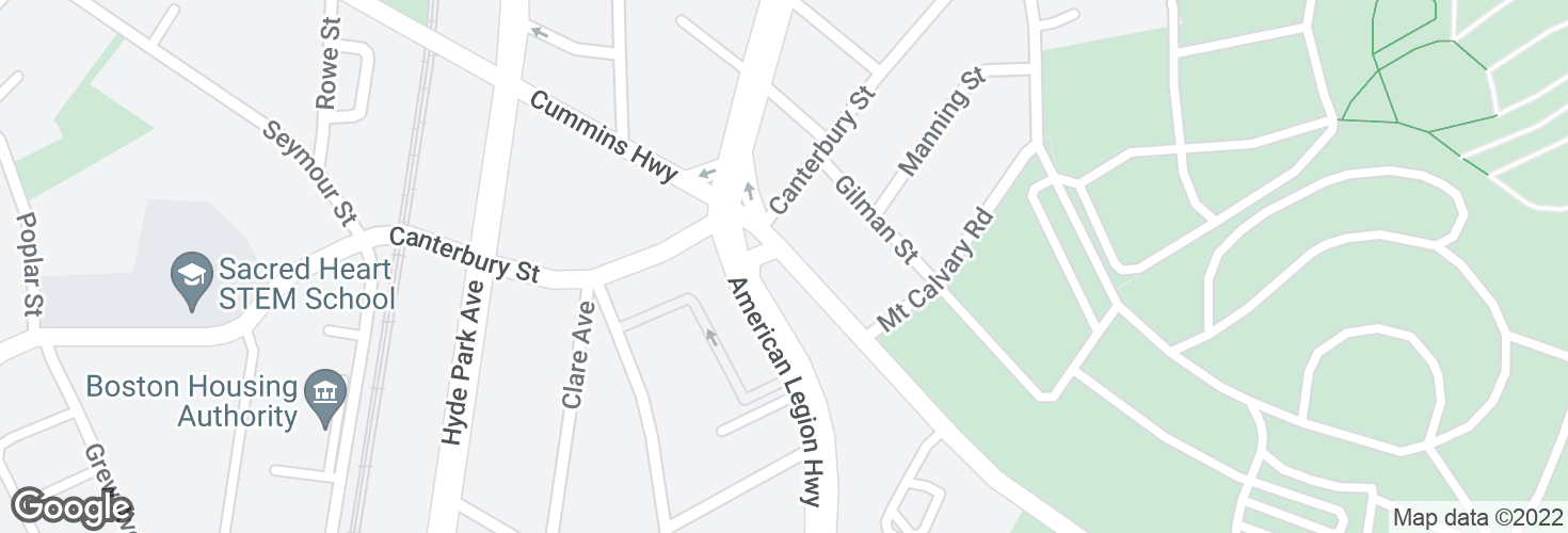 Map of Cummins Hwy @ American Legion Hwy and surrounding area