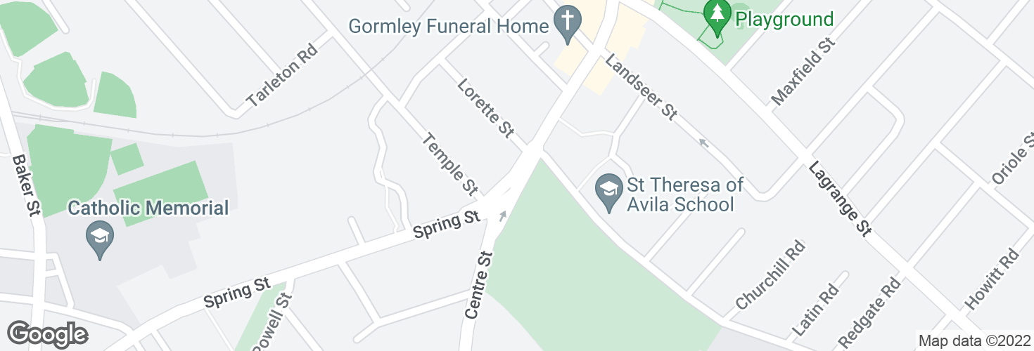 Map of Centre St @ Spring St and surrounding area