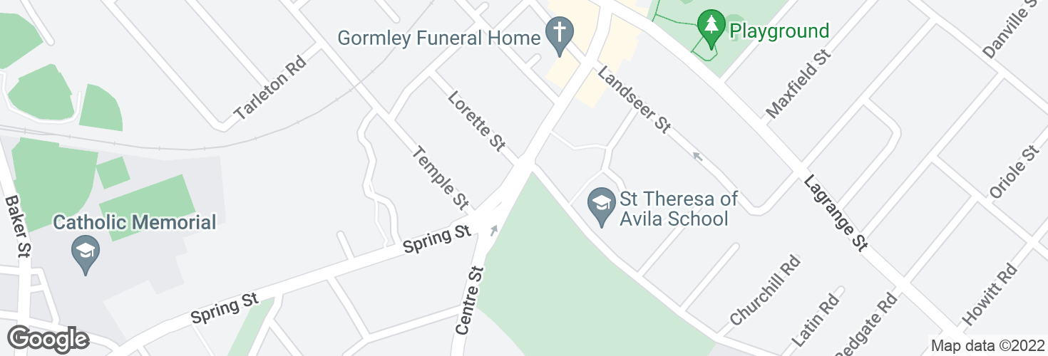 Map of Centre St @ Saint Theresa Ave and surrounding area
