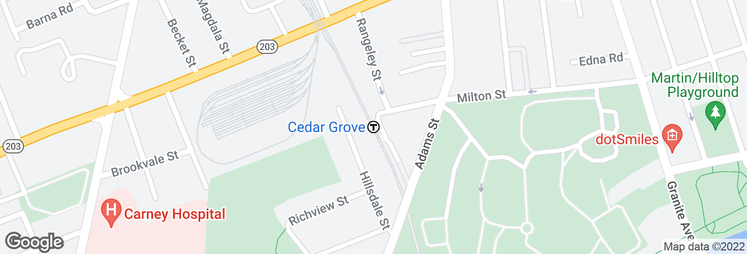 Map of Cedar Grove and surrounding area