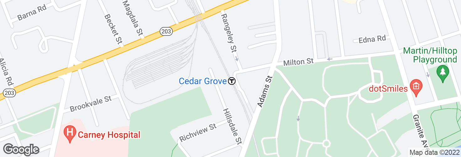 Map of Cedar Grove and surrounding area
