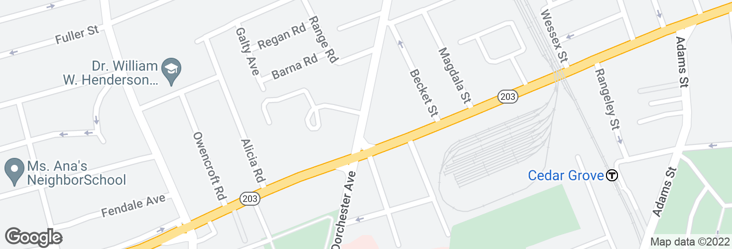Map of Dorchester Ave @ Gallivan Blvd and surrounding area