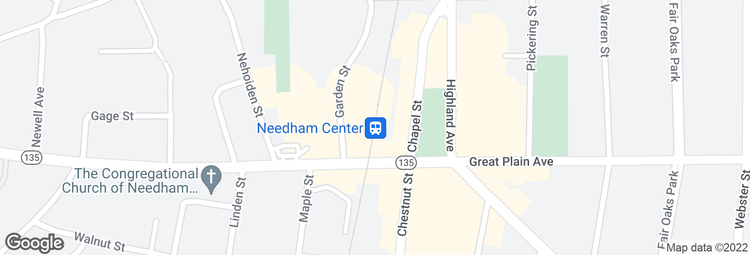Map of Needham Center and surrounding area