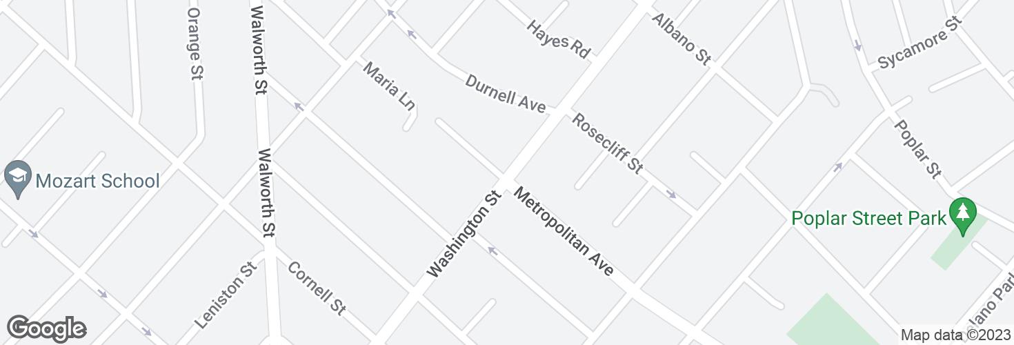 Map of Washington St @ Metropolitan Ave and surrounding area
