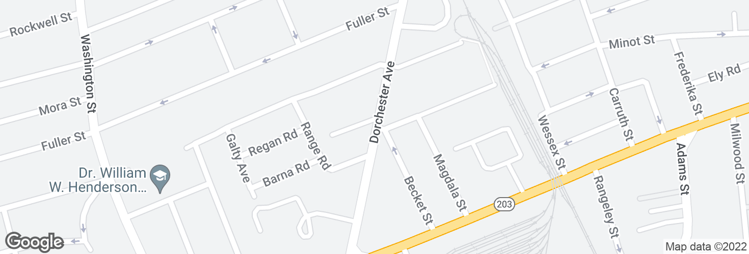 Map of Dorchester Ave @ Hurlcroft Ave and surrounding area